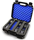 CASEMATIX Customizable 2 Way Radio Case Compatible with Up to 16 Walkie Talkies and Uhf FRS Accessories by Arcshell, Baofeng, Midland, Motorola Talkabout, Retevis and Uniden in Blue Foam