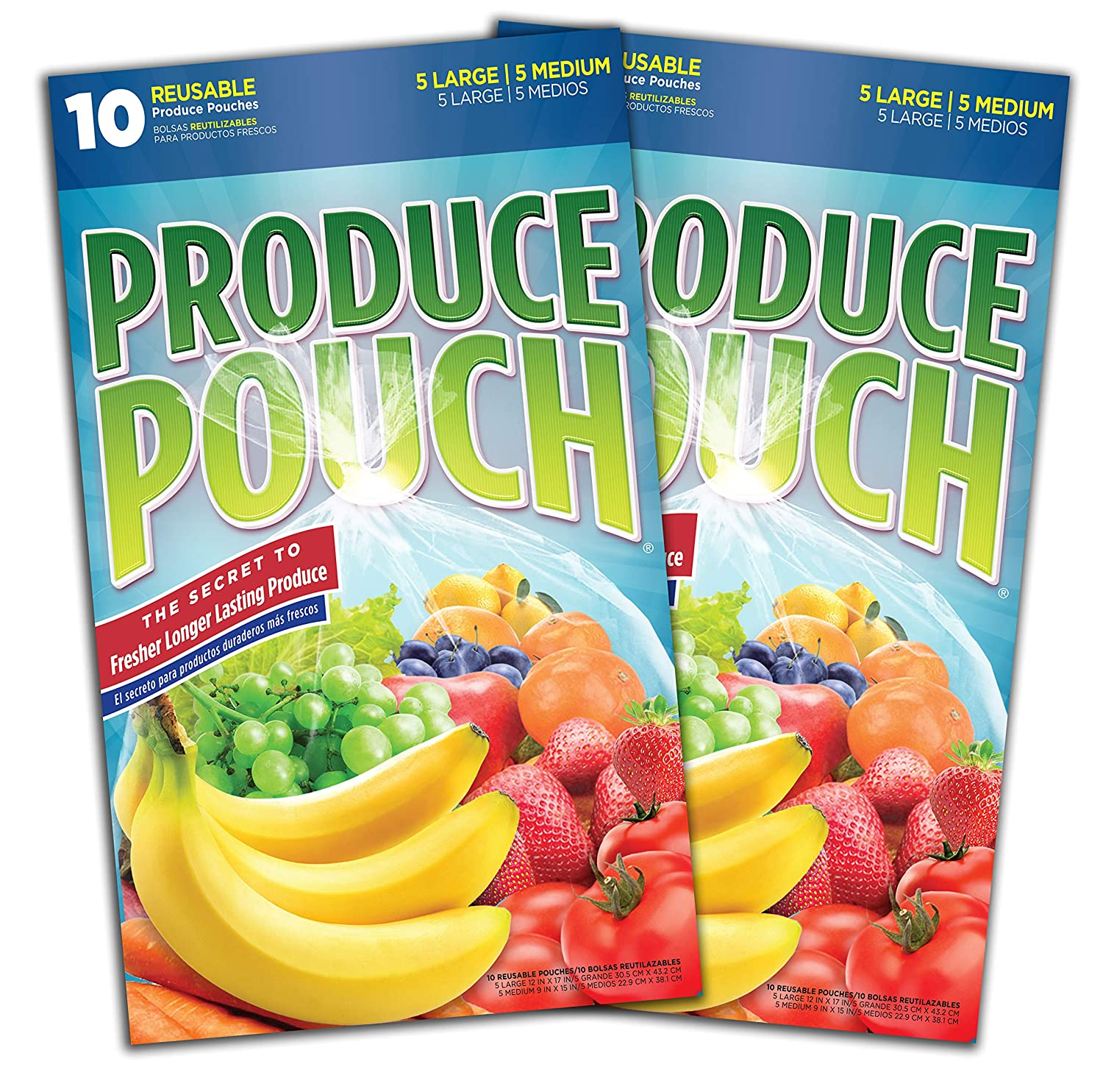 Produce Pouch-Keeps Produce Fresher Longer, reusable green bags preserve fruits, vegetables and flowers 2 packs (20 Bags)