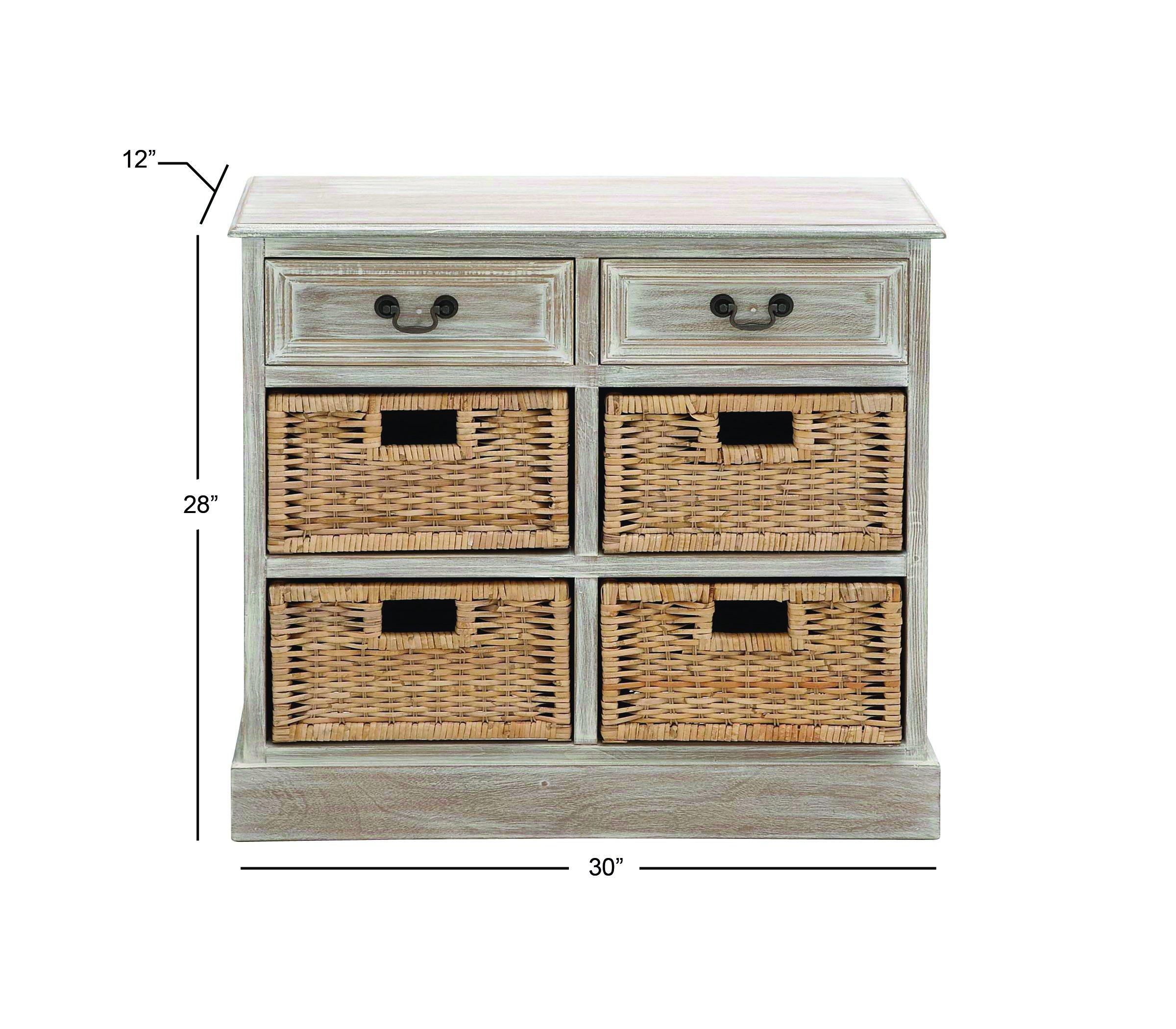 Deco 79 96285 Wood 4 Basket Dresser, 30'' x 28'', Taupe