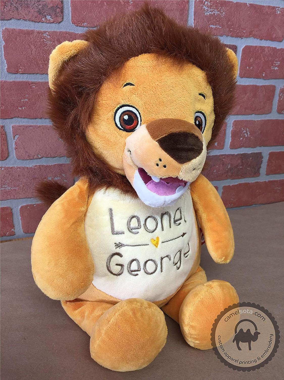 Monogrammed Lion Numbutu Lion Cubbie Custom Embroidered Stuffed Lion Cubbie