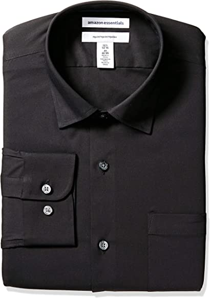 Amazon Essentials Regular-fit Wrinkle-Resistant Stretch Dress Shirt Camisa de vestir, Negro, 14.5