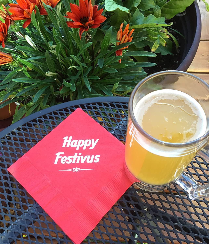 Festivus Napkins Cocktail Drink Size 5 Inch Multi Color 20 Count