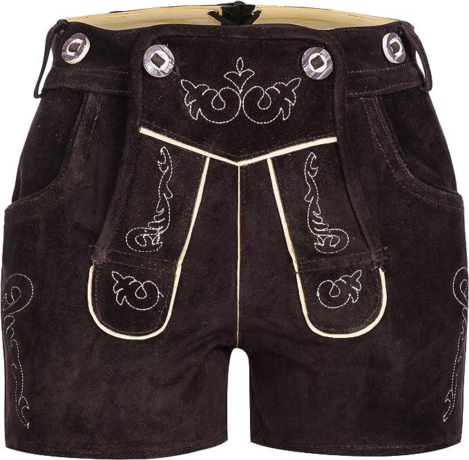 Gaudi Leathers Damen Trachten Lederhose Shorts kurz mit Träger in verschiedenen Farben