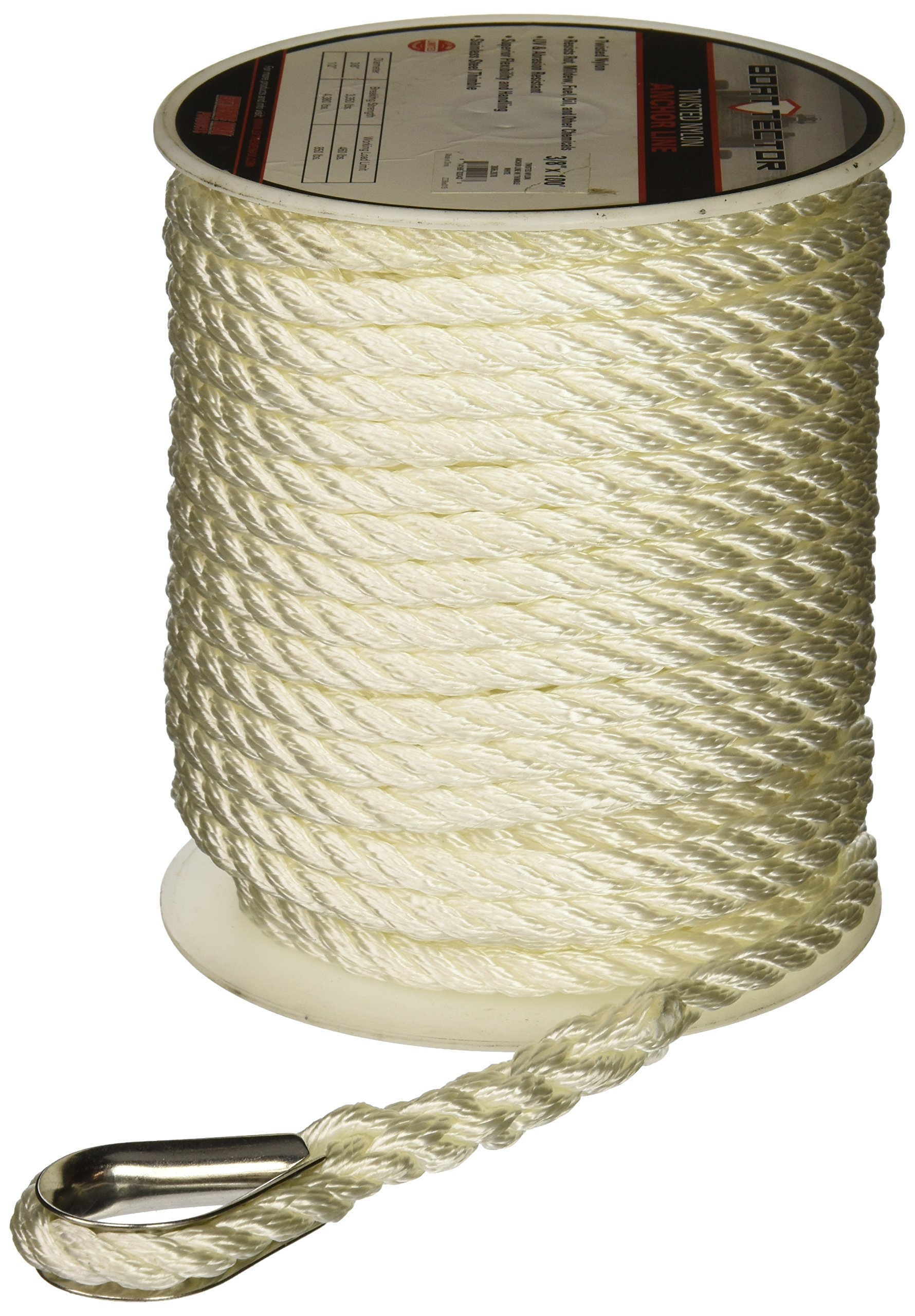 Extreme Max 3006.2297 BoatTector Premium Twisted Nylon Anchor Line with Thimble, 3/8-Inch x 200-Feet, White