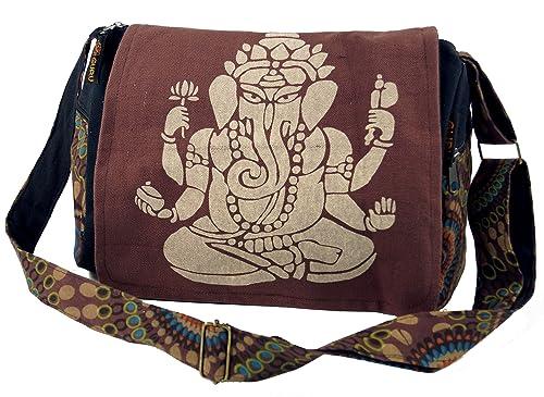 Guru Shop Schultertasche, Hippie Tasche, Goa Tasche Ganesha Grün, HerrenDamen, Baumwolle, 23x28x12 cm, Alternative Umhängetasche, Handtasche aus
