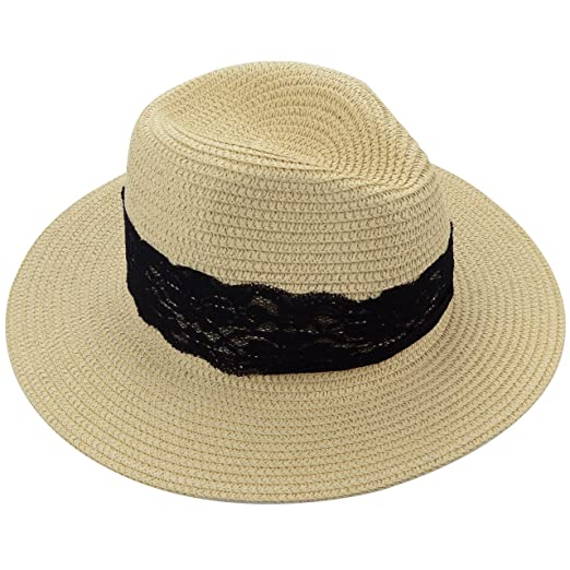 9eb436ddd91 Medium Floppy Wide Brim Women s Summer Sun Beach Straw Hat with Black  Striped Band (Black