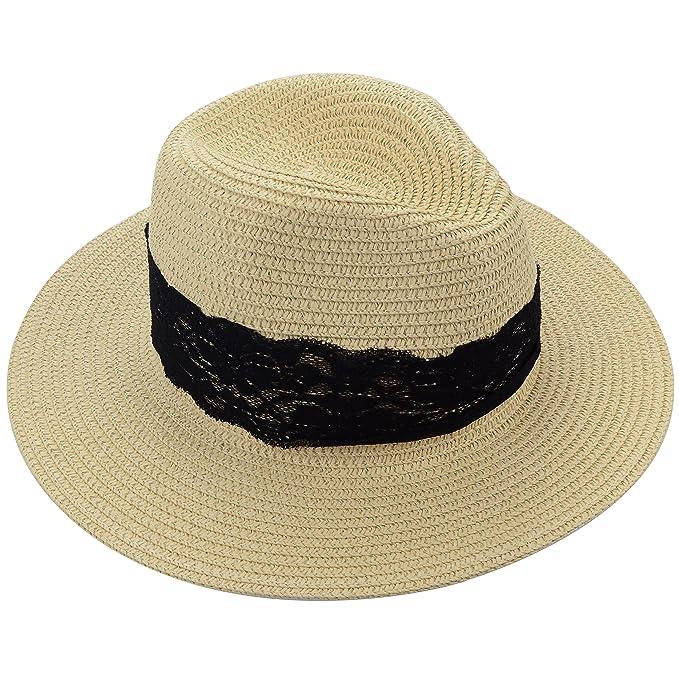 c5f9eb51 Medium Floppy Wide Brim Women's Summer Sun Beach Straw Hat with Black  Striped Band (Black