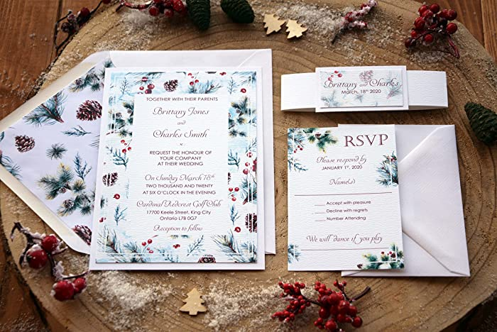 elegant christmas wedding invitation pine cone winter watercolor invitation white cards with rsvp