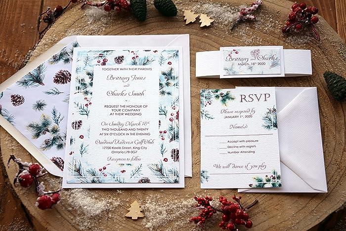 Amazon elegant christmas wedding invitation pine cone winter elegant christmas wedding invitation pine cone winter watercolor invitation white cards with rsvp filmwisefo