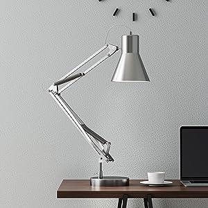 Lavish Home (Brushed Steel Architect Desk Lamp-LED Task Adjustable Swing Arm for Home and Office-Includes Energy Efficient Light Bulb