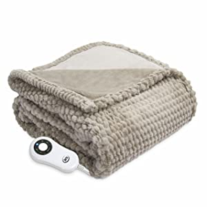 """Serta Heated ElectricHoneycomb Faux Fur Throw- with 5 setting controller, 50 x 60"""", Sand Model 0917"""
