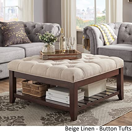 Inspire Q Lennon Espresso Planked Storage Ottoman Coffee Table By Classic  Beige Linen/Button Tufts