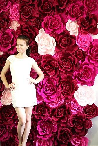 Giant Flower Wall Wedding Paper Flowers Shop Window Display St Valentines