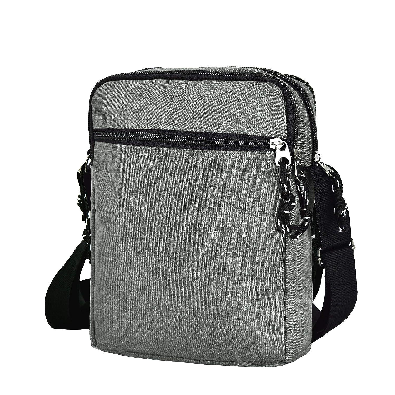 Gloria Kaos Sac besace homme bandouli/ère r/églable Tissu technique moderne gris GK-A001-Grey 24x19x7cm