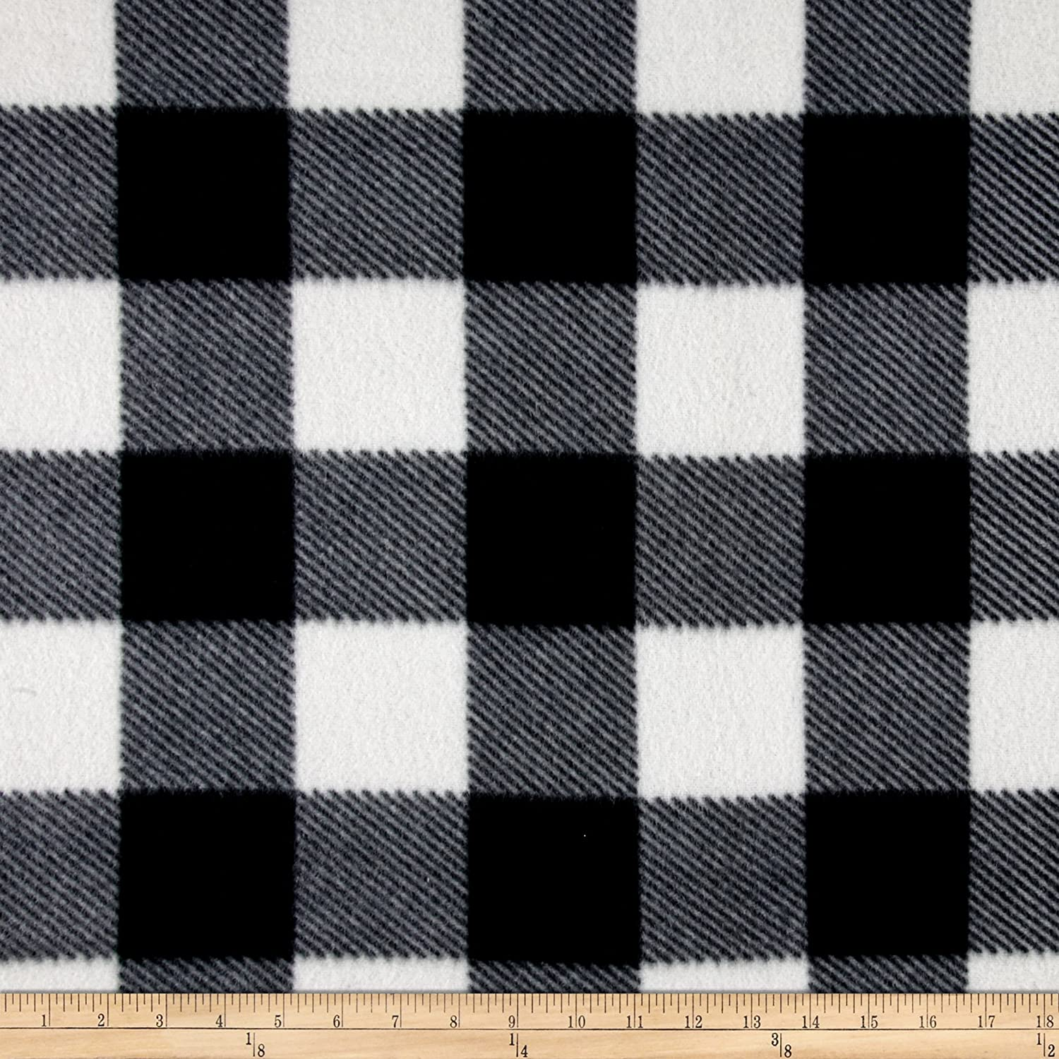 Newcastle Fabrics Fleece Buffalo Plaid Print Black/White Yard 0427096