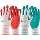 COOLJOB Gardening Gloves for Women, 6 Pairs Breathable Rubber Coated Garden Gloves, Outdoor Protective Work Gloves Medium Siz