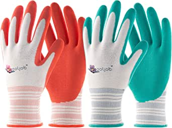 COOLJOB Gardening Gloves for Women, 6 Pairs Breathable Rubber Coated Garden Gloves, Outdoor Protective Work Gloves Medium Size Fits Most, Red & Green (Half Dozen M)