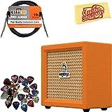 Orange Crush Mini Guitar Combo Amplifier Bundle with Instrument Cable, Pick Sampler, and Austin Bazaar Polishing Cloth