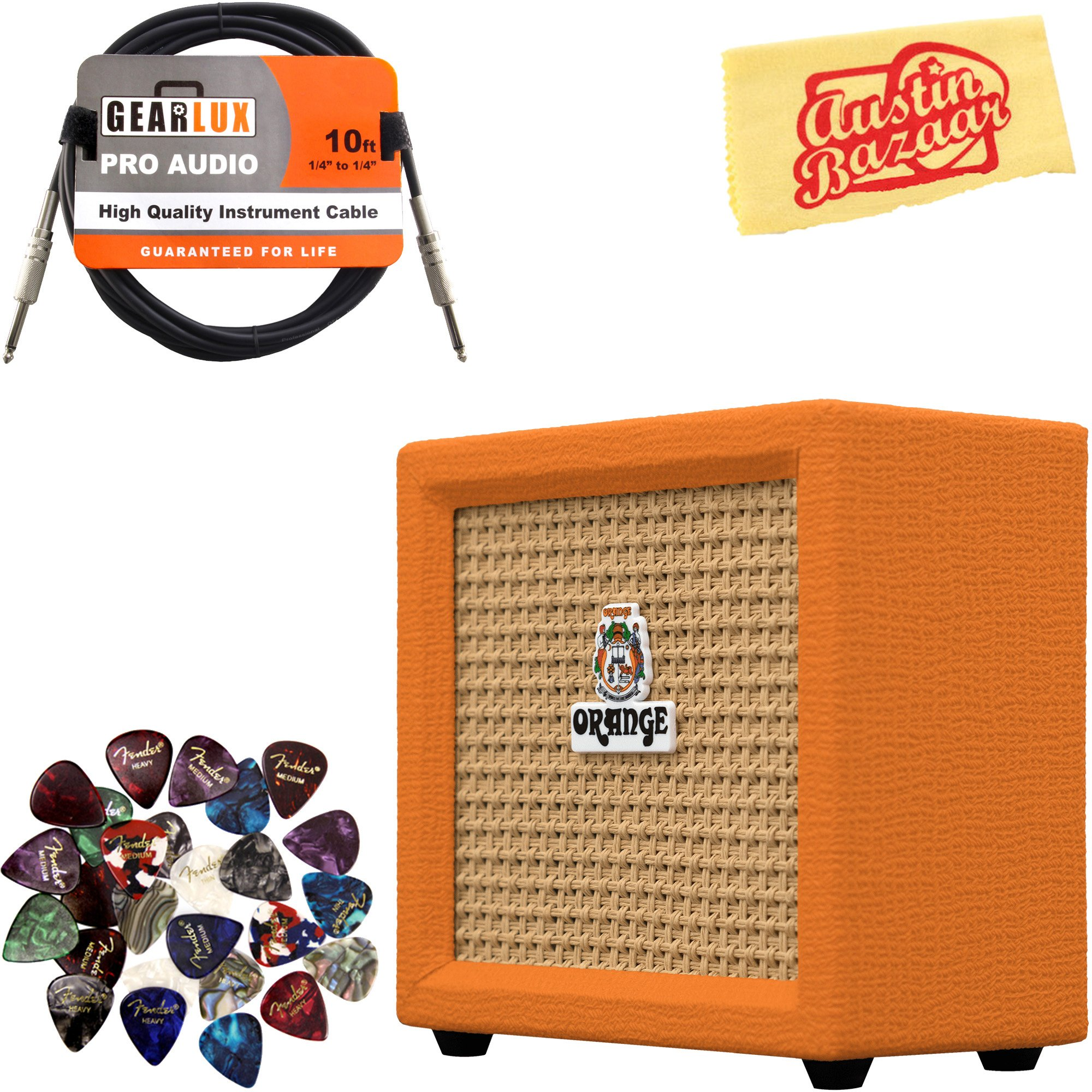Orange Crush Mini Guitar Combo Amplifier Bundle with Instrument Cable, Pick Sampler, and Austin Bazaar Polishing Cloth by Orange