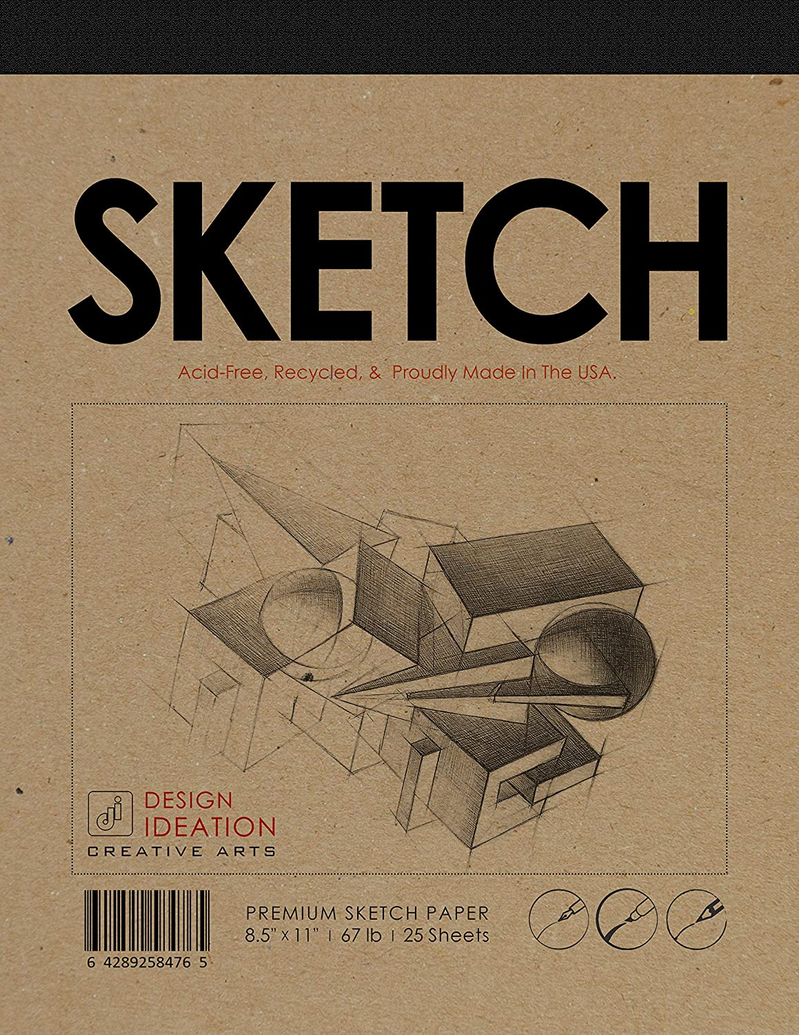 """Design Ideation Sketch Pad. Premium Paper Sketch pad for Pencil, Ink, Marker, Charcoal and Watercolor Paints. Great for Art, Design and Education. (8.5"""" x 11"""")"""