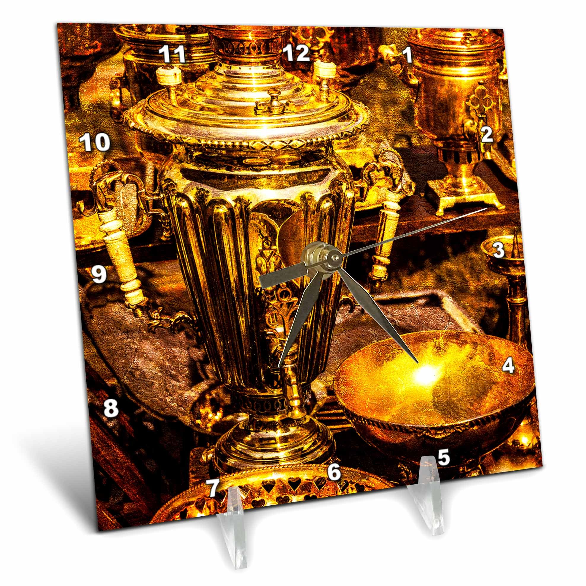 3dRose Alexis Photography - Objects - Golden age technologies - Samovar or fire tea pot. Stylized photo - 6x6 Desk Clock (dc_270870_1)