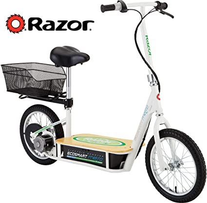 Electric Scooter With Seat >> Razor Ecosmart Metro Electric Scooter For Adults 500w High Torque Motor Up To 18mph 16 Air Filled Tires Rear Wheel Drive Height Adjustable Seat