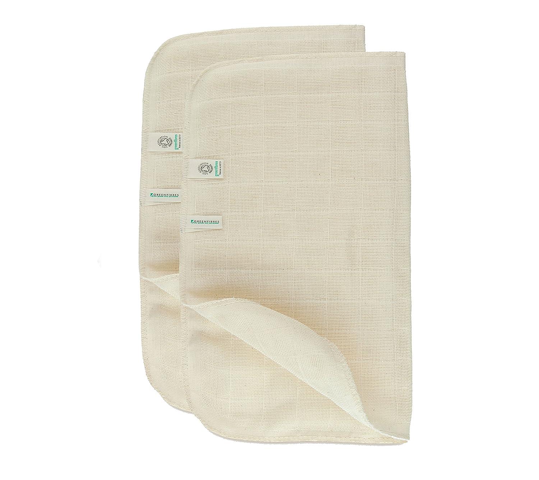 Verde fibras Juego de 2 orgánico muselina de algodón toalla para la cara: Amazon.es: Belleza