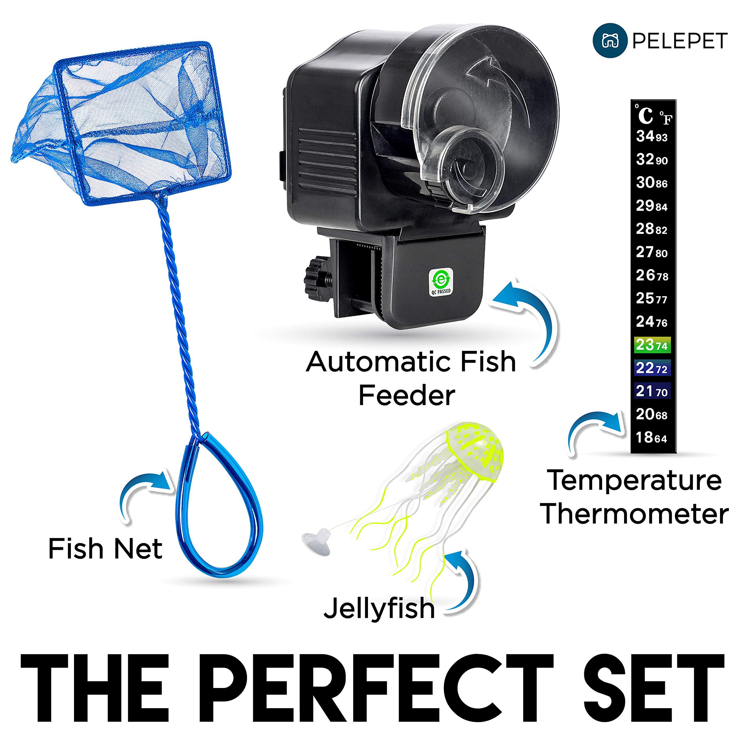PELEPET Automatic Fish Feeder - Aquarium Feeder - Fish Food Vacation Feeder - Auto Feeding Unit + Net for Fish Tank Thermostat & Jelly Fish - Reliable Long Lasting Fish Food Dispenser by PELEPET