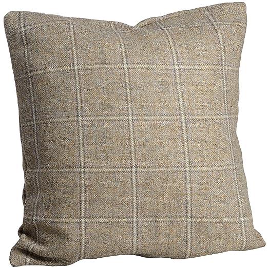 Yorkshire Tweed de cuadros cojín cuadrado - gris/luz marrón ...