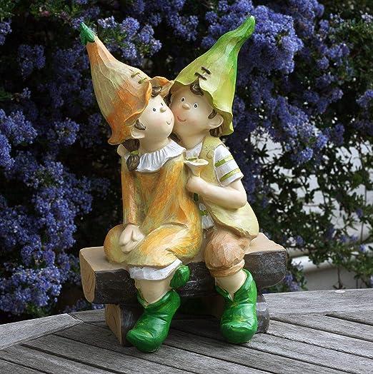 FHFY Garden Celia y Cedric en un Banco, Adorno de jardín, gnomo, Hada de jardín, Troll, Imp: Amazon.es: Jardín