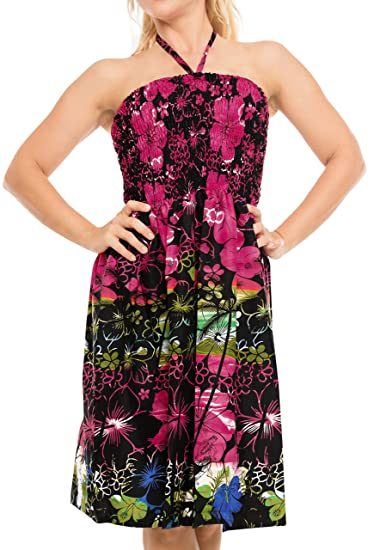 cb87b426a4 Short Tube Dress Swimsuit Swimwear Cover up Beach wear Halter Neck ...
