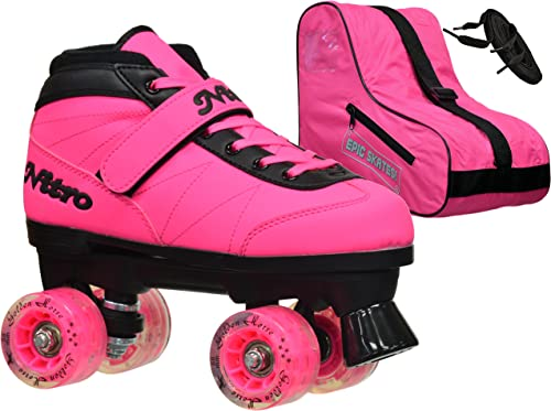 New 2016 Epic Nitro Turbo Pink LED Light Up Indoor Outdoor Quad Roller Speed Skates Bundle Mens 6