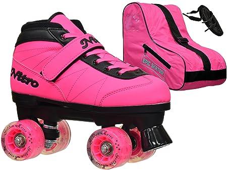 New 2016 Epic Nitro Turbo Pink LED Light Up Indoor Outdoor Quad Roller Speed Skates Bundle Mens 6