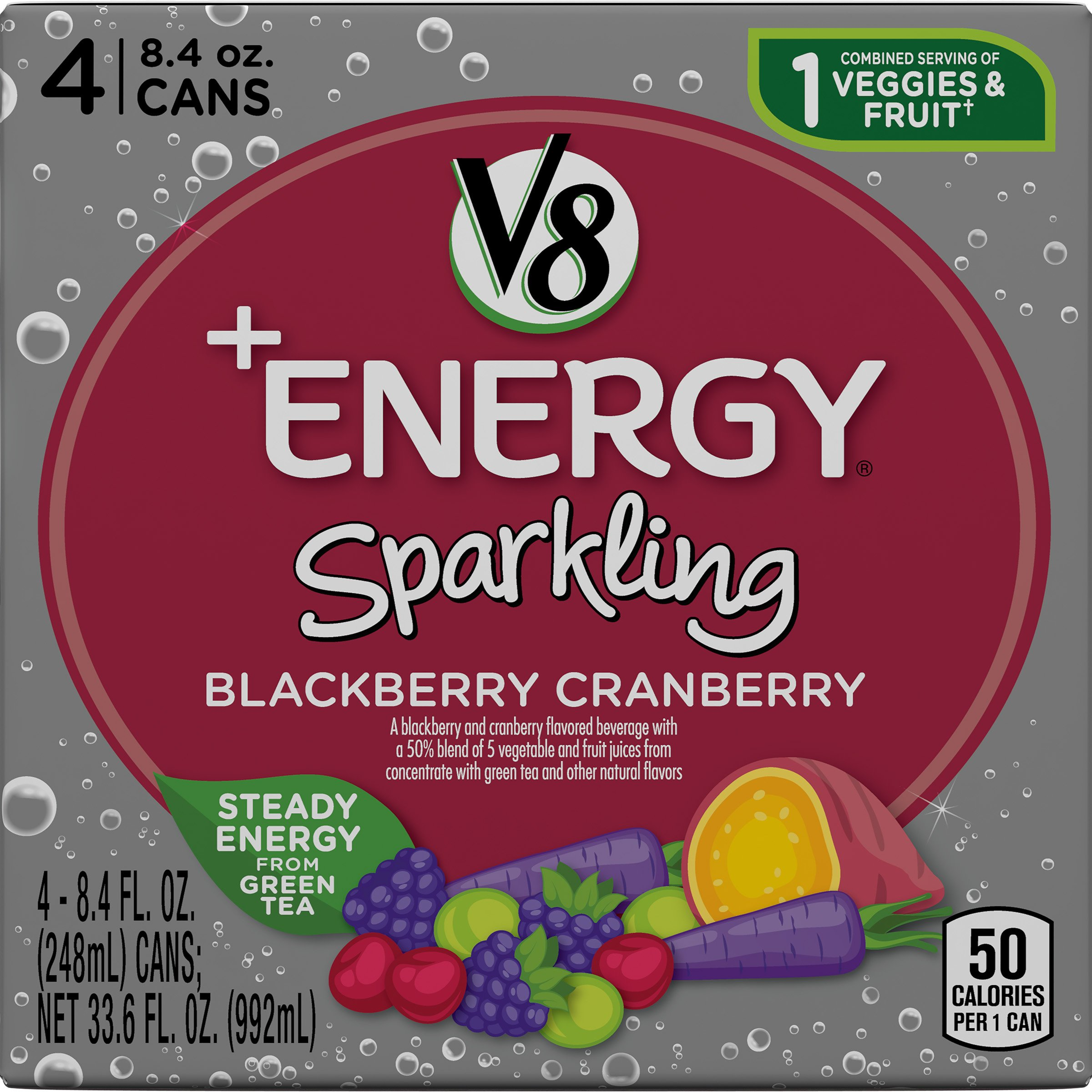 V8 +Energy Sparkling Healthy Energy Drink, Natural Energy from Tea, Blackberry Cranberry, 8.4 Ounce Can (4 Count)