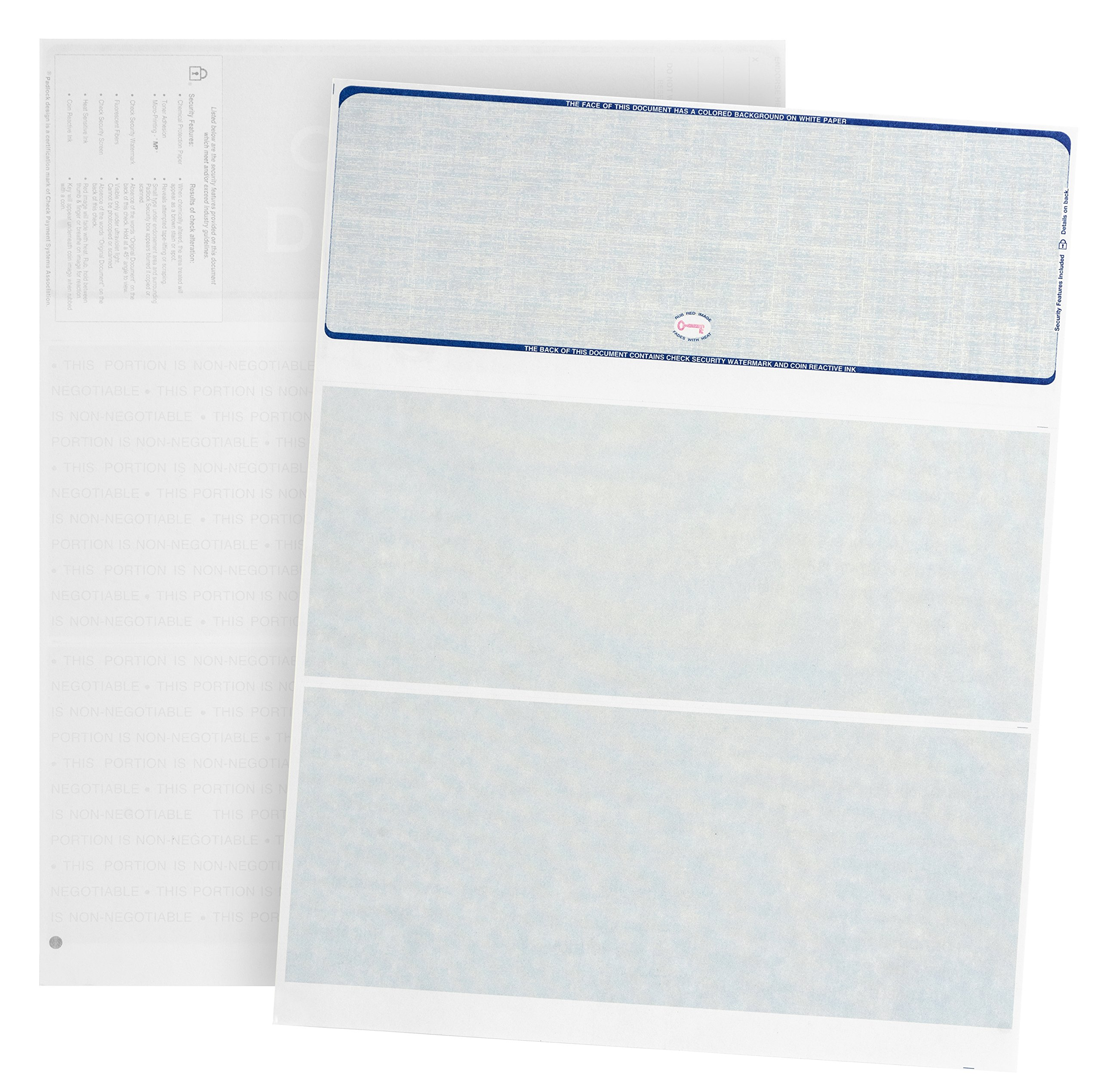 500 Blank Check Stock- Designed for Secure Computer Printed Checks with Quickbooks, Versacheck, and More - Blue Linen Pattern- 500 Sheets - 8.5'' x 11''