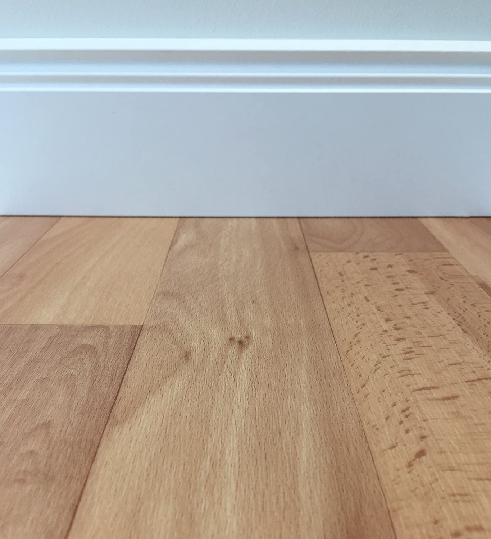 CV-Boden wird in ben/ötigter Gr/ö/ße als Meterware geliefert PVC-Belag verf/ügbar in der Breite 4 m /& in der L/änge 5,0 m PVC Vinyl-Bodenbelag in hellbrauner Holzoptik rutschhemmend