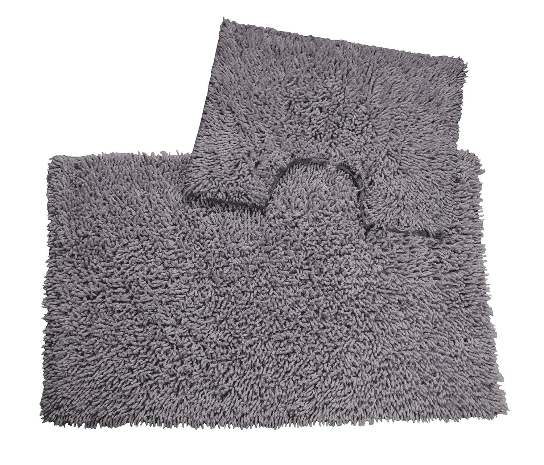EHC 2-Piece 100% Cotton Bathmat and Pedestal Mat Set,Smoke, 50_x_80_cm Elite Housewares E9-TT5080SM