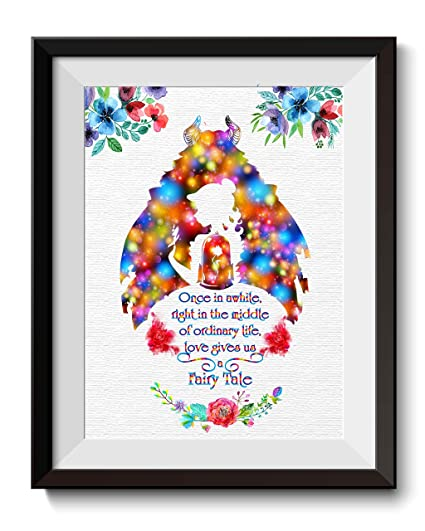 . Uhomate Princess Belle Beauty and The Beast Beauty Beast Home Canvas Prints  Wall Art Anniversary Gifts Baby Gift Inspirational Quotes Wall Decor
