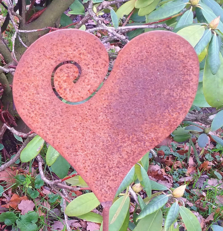 Antikas - un corazón pequeño con estaca para la Maceta - decoración jardín - Herrumbre Noble - Regalo de Boda corazón: Amazon.es: Jardín