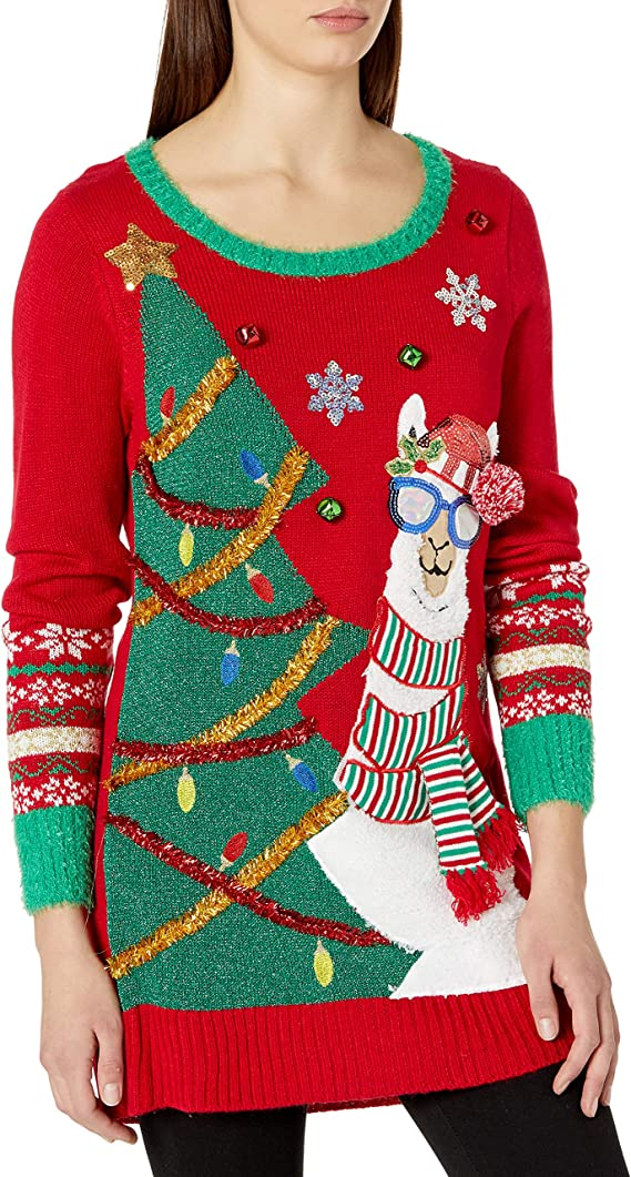 Blizzard Bay Women's Ugly Christmas Sweater with Lama and Christmas Tree Ugly Christmas Sweaters for Women