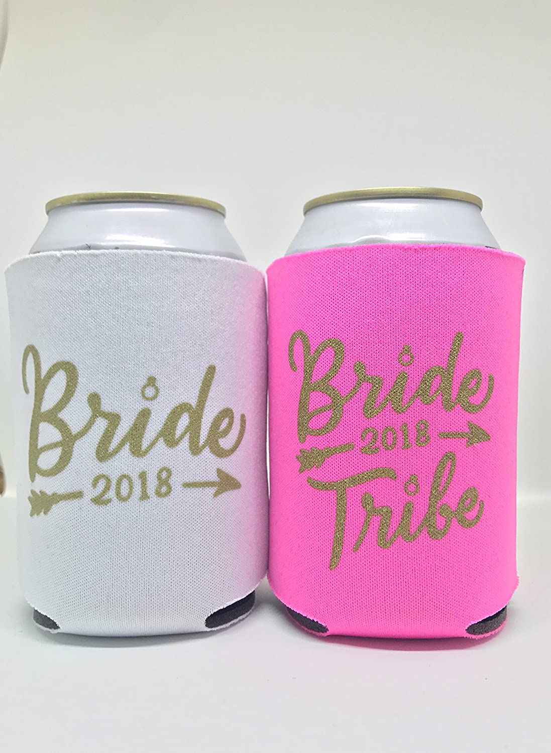Amazon.com: BRIDE TRIBE CAN COOLER KOOZIE (11 PACK) WHITE PINK GOLD ...