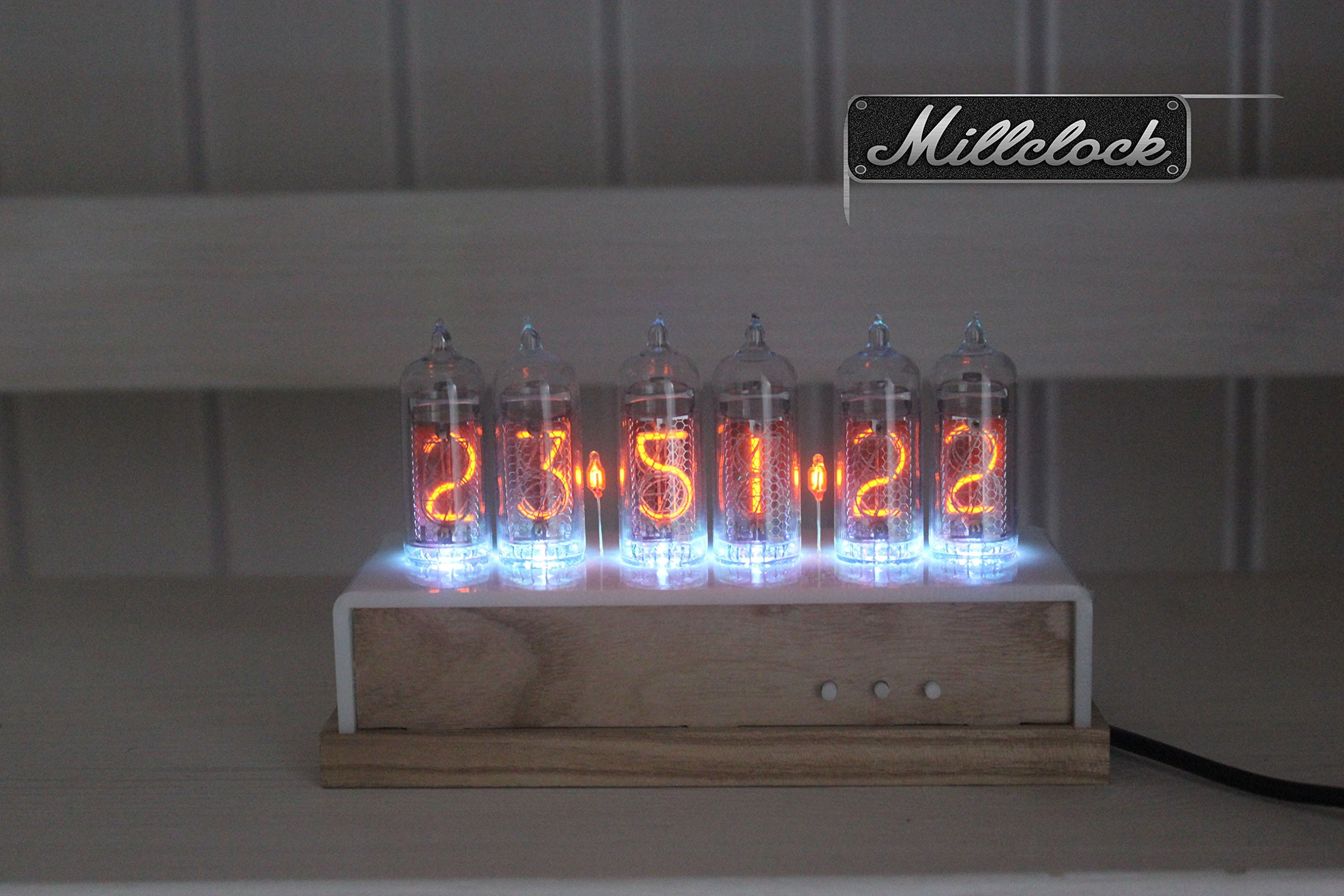 IN-14 NIXIE TUBE CLOCK ASSEMBLED WOOD ENCLOSURE GPS ALARM AND ADAPTER 6-tubes by MILLCLOCK by Millclock