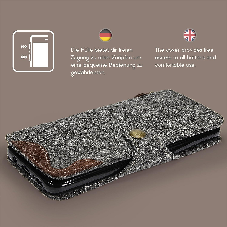 SIMON PIKE Filztasche Newyork in 1 anthrazit echtem Wollfilz Handyh/ülle Schutzh/ülle Handytasche kompatibel mit Apple iPhone X