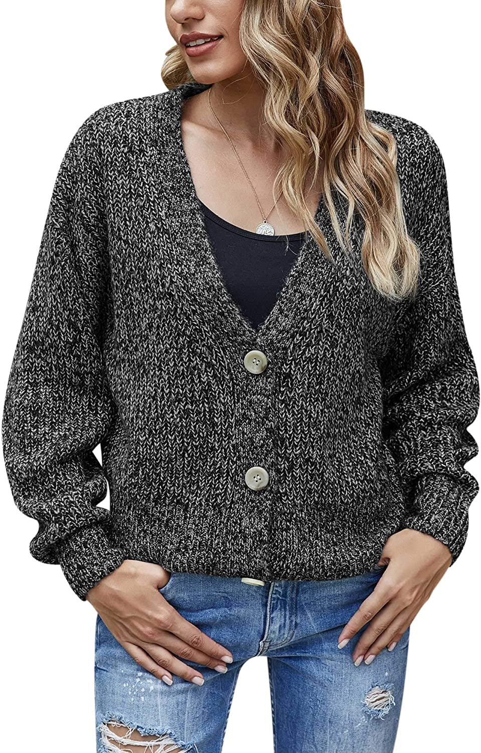 Women's V Neck Button Down Cardigan Sweaters Lantern Long Sleeve Casual Loose Cable Knit Cropped Cardigan Coats