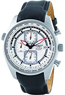 Aviator Mens AVW1900G243 Chorograph Stainless Steel Watch With Black Leather Strap 100m WR