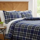 Stone & Beam Rustic Plaid Flannel Duvet Comforter Cover Set, Full / Queen, Blue and Green