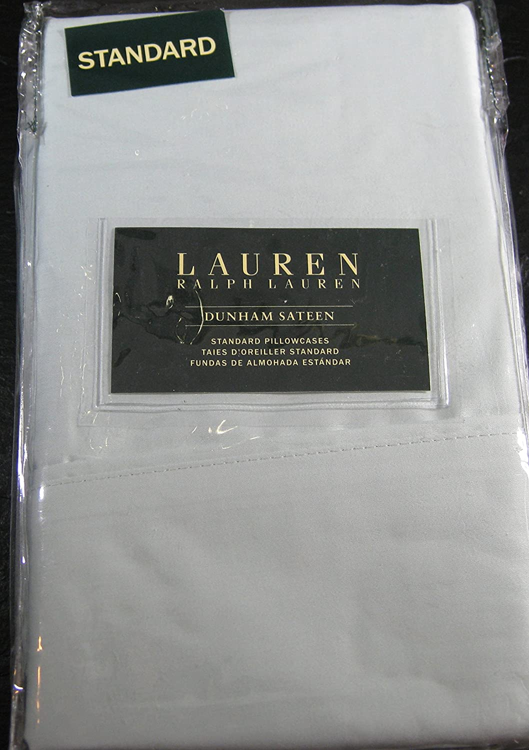 Set of 2 Ralph Lauren Dunham Sateen Standard Pillowcases-Pale Blue-300 Thread Count 100% Cotton-