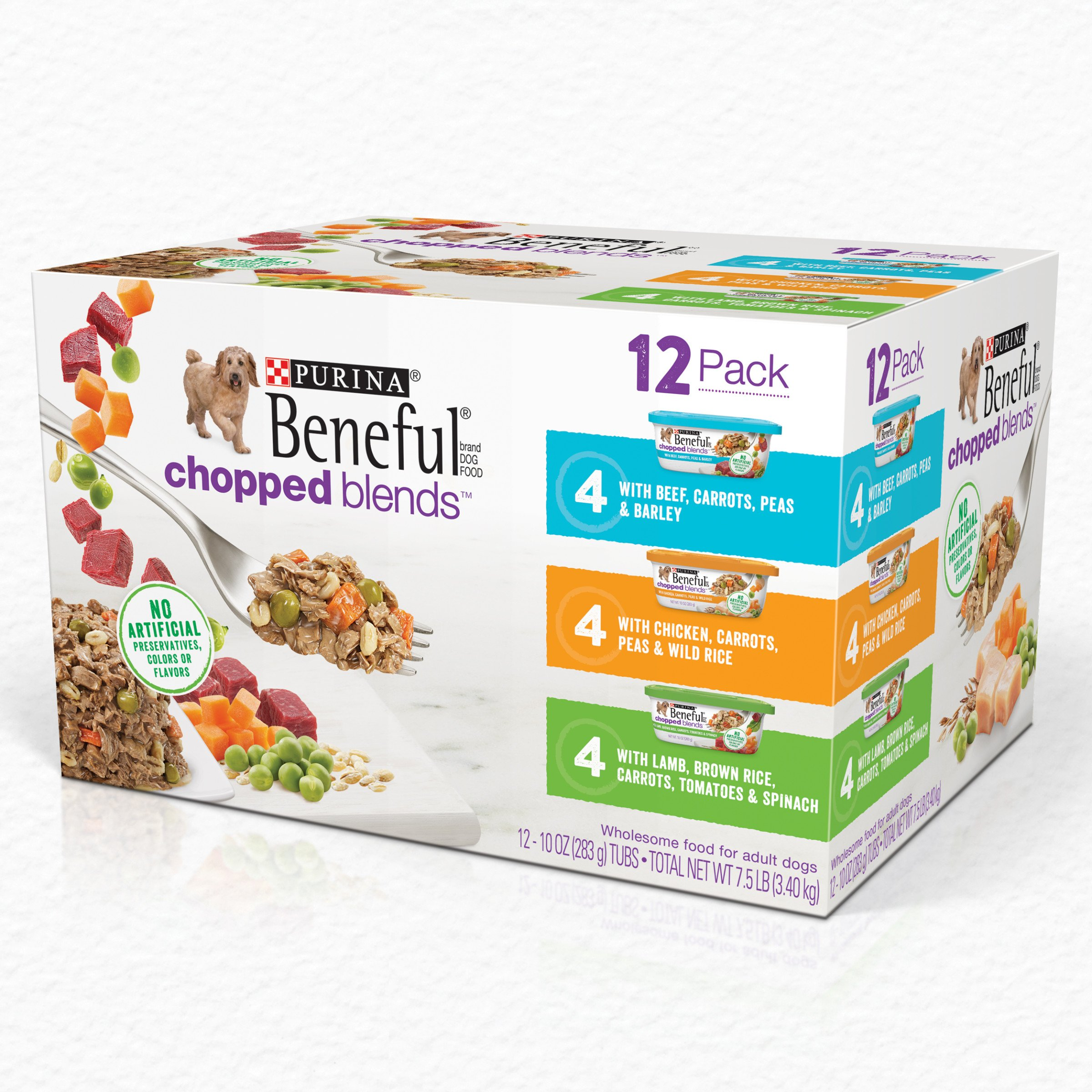 Purina Beneful Wet Dog Food Variety Pack, Chopped Blends - (12) 10 oz. Tubs by Purina Beneful