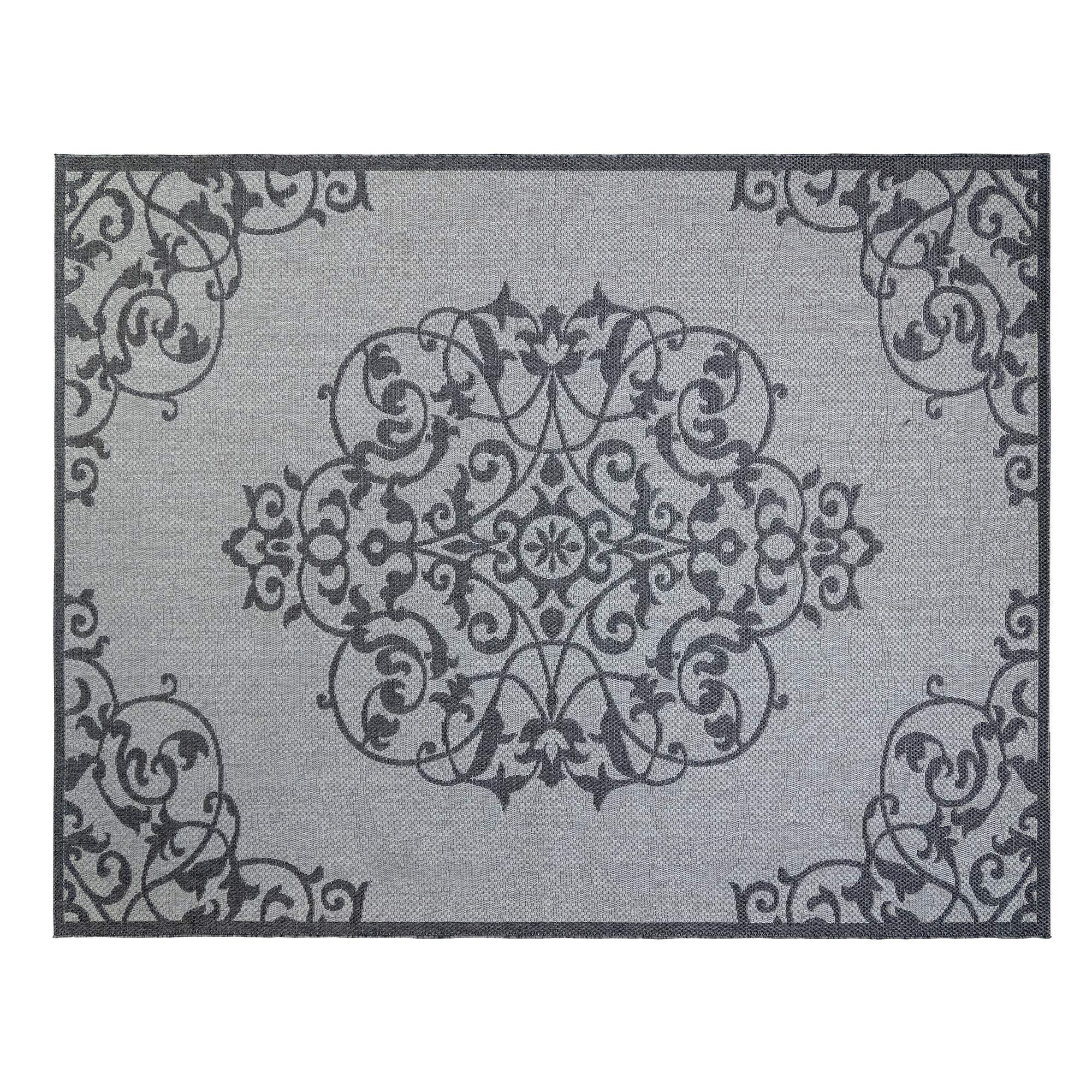 Gertmenian 21609 Space Outdoor Rug Patio Area Carpet, 9x13 X Large Medallion Gray