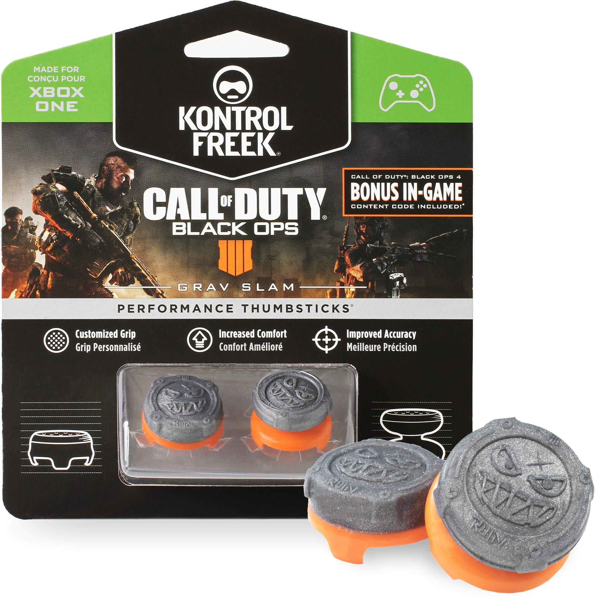 KontrolFreek Call of Duty: Black Ops 4 Grav Slam for Xbox One Controller | Performance Thumbsticks | 1 High-Rise Convex, 1 Mid-Rise Convex | Gray/Orange by KontrolFreek